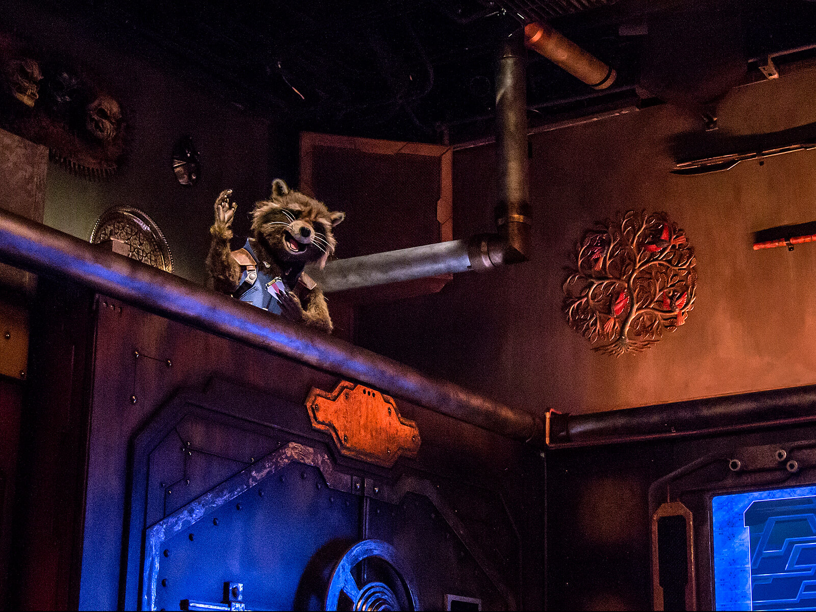 Audio-animatronic Rocket Raccoon welcomes riders to the Guardians of the Galaxy: Mission Breakout at Disney's California Adventure theme park