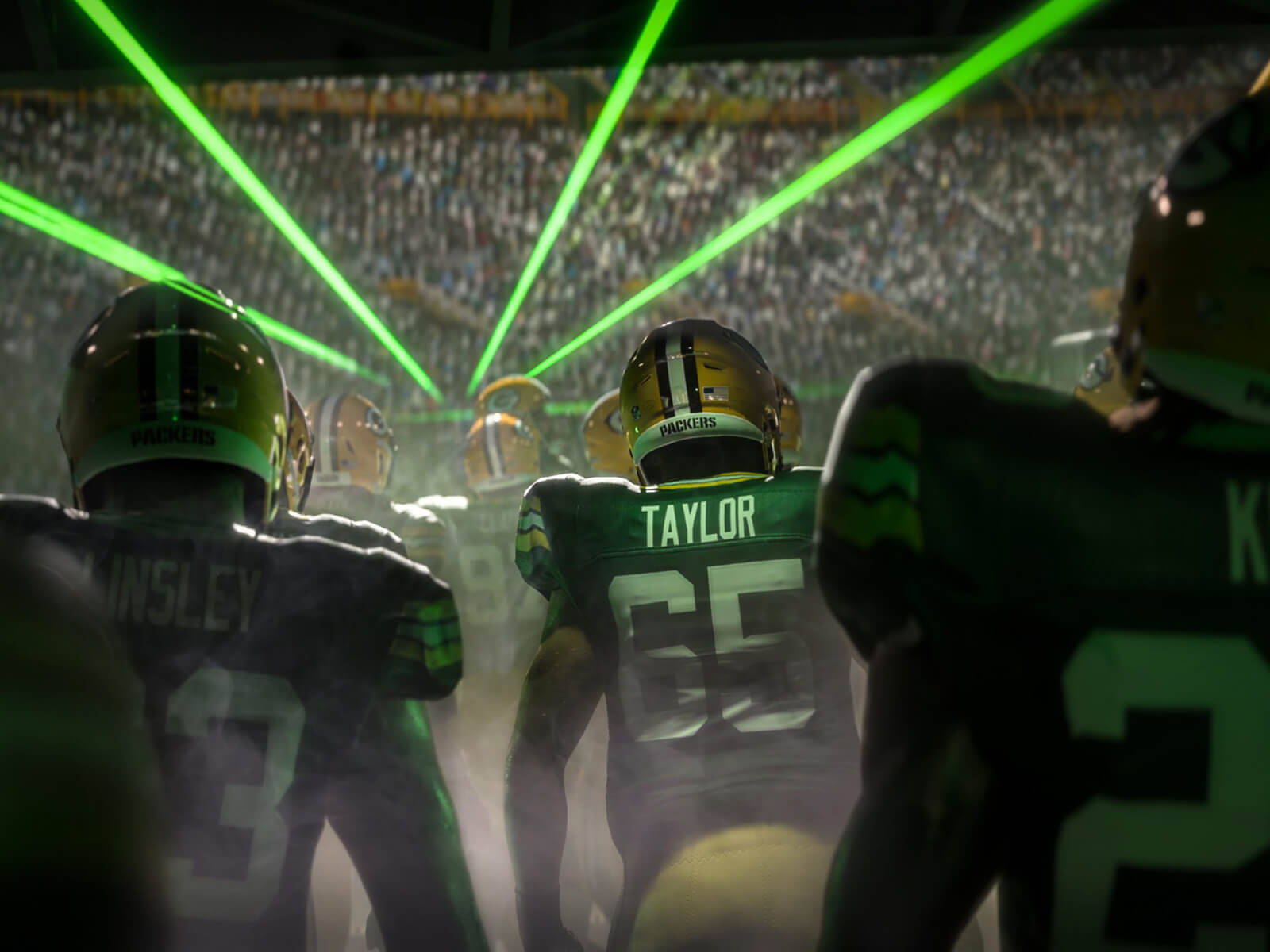 A screenshot of the Green Bay Packers exiting their locker room with lasers overhead from Madden NFL 21.