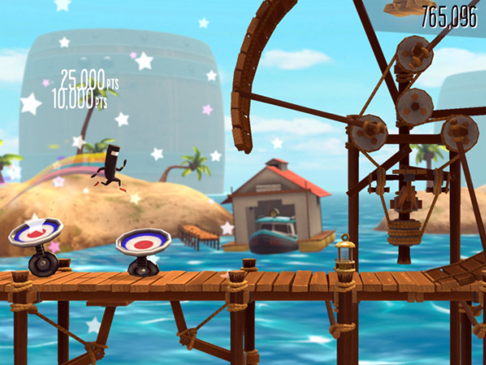 Screenshot of the Aquatic Symphonic level from bit.trip runner 2, with a character running on a wooden platform above water