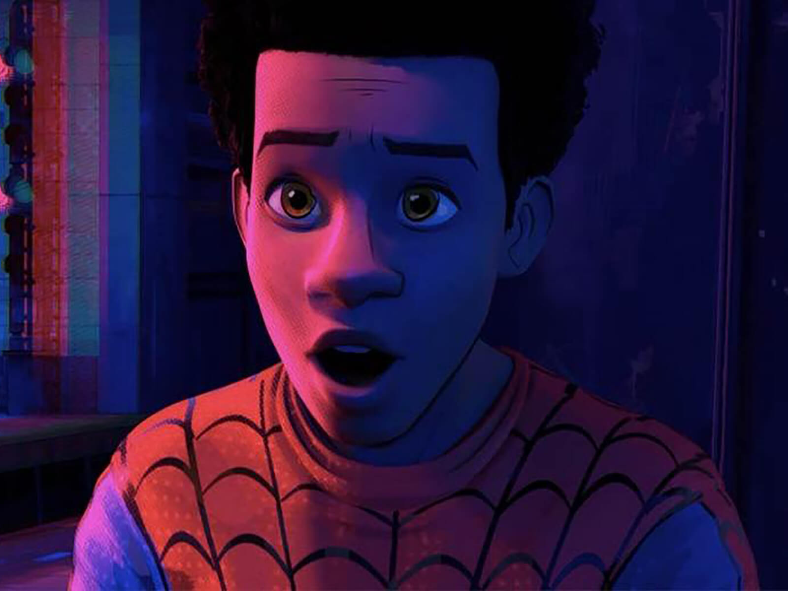 Still of Miles Morales from Spider-Man: Into the Spider-Verse