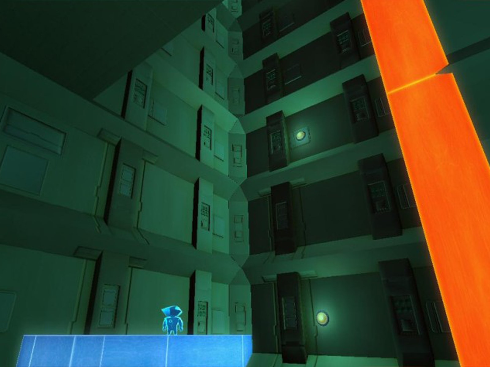 Screenshot from DigiPen student game Perspective of the main character looking up at building walls