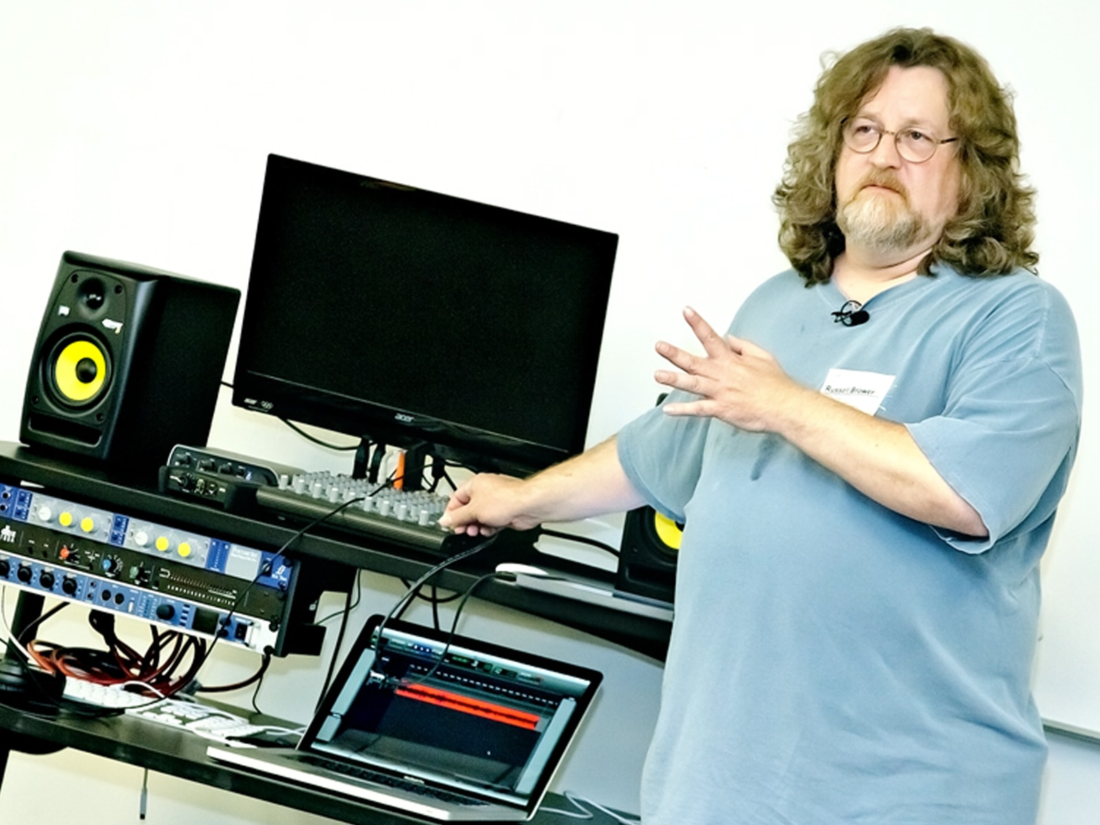 Russell Brower giving a sound demonstration in a DigiPen classroom