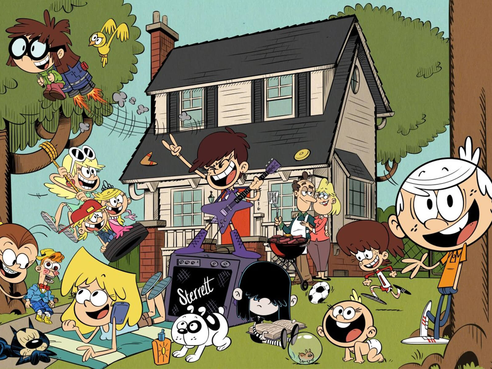 A drawing from Nickelodeon's The Loud House depicting the chaotic Loud family on their front yard.