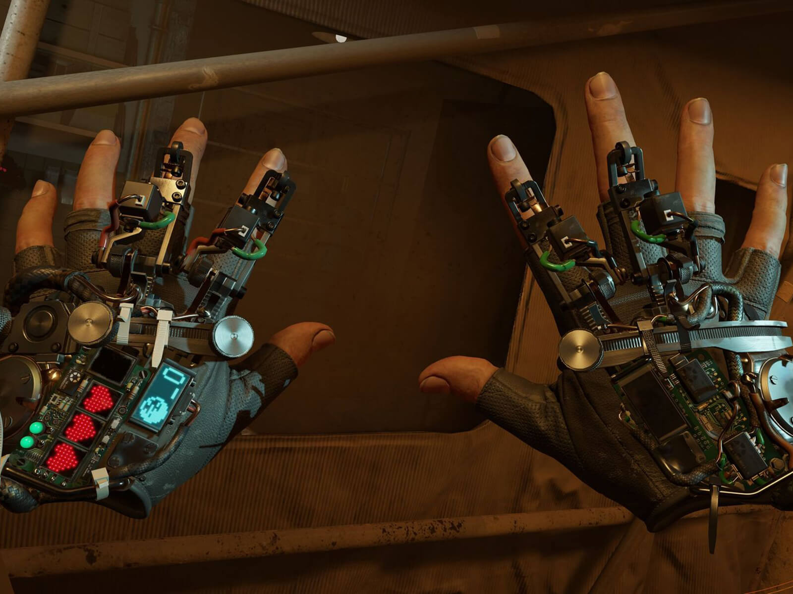 Half-Life: Alyx screenshot – close-up view of the 'gravity gloves' device