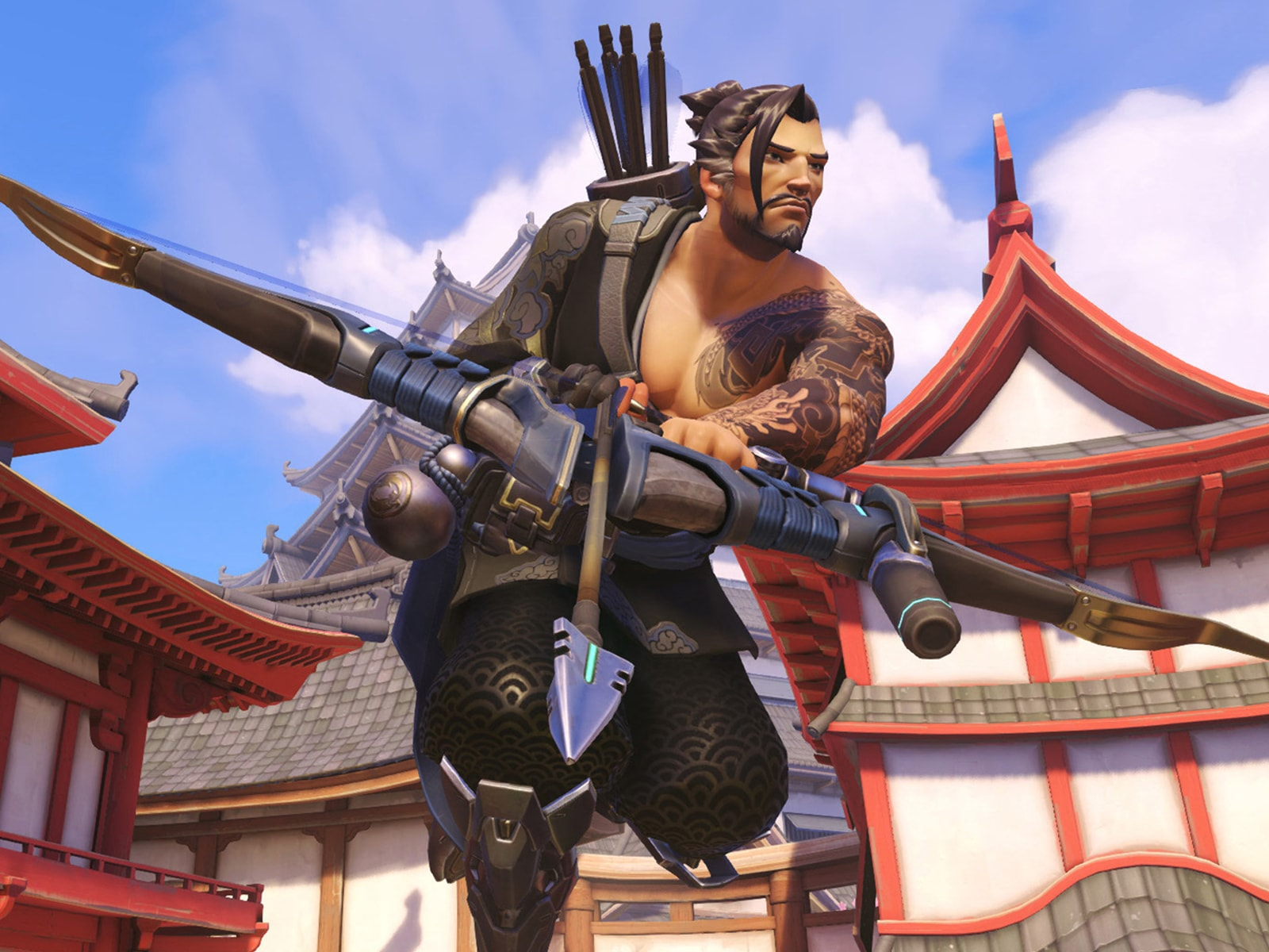 Overwatch character Hanzo wielding his storm bow among several pagodas