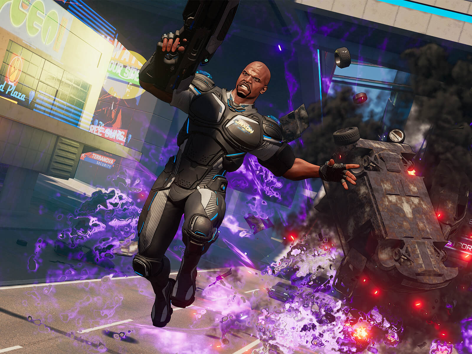 A man in a futuristic black jumpsuit leaps away from a purple-hued explosion of a truck overturning behind him on a road