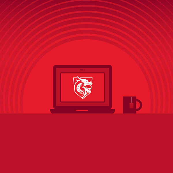 An illustration of a laptop with the DigiPen Dragon logo onscreen, next to a cup of tea.