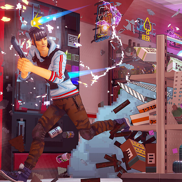 Bullets shatter soda bottles, snacks, and a neon sign as a Defender character from Due Process dodges gunfire.
