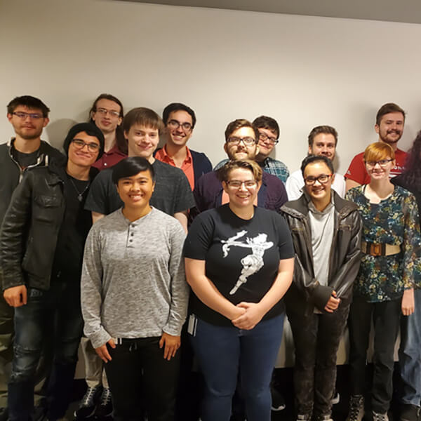 Group photo with the 16 members of DigiPen student game team Nuclear Lunch