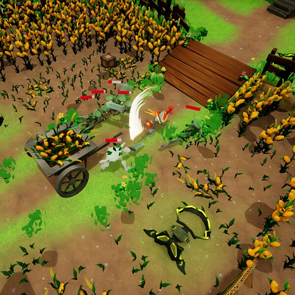 Excalibots screenshot: Robot knight swings sword at cluster of enemy goblins in a field of flowers