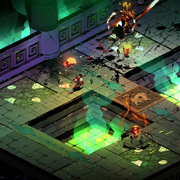 A warrior fights a demon in a dungeon.