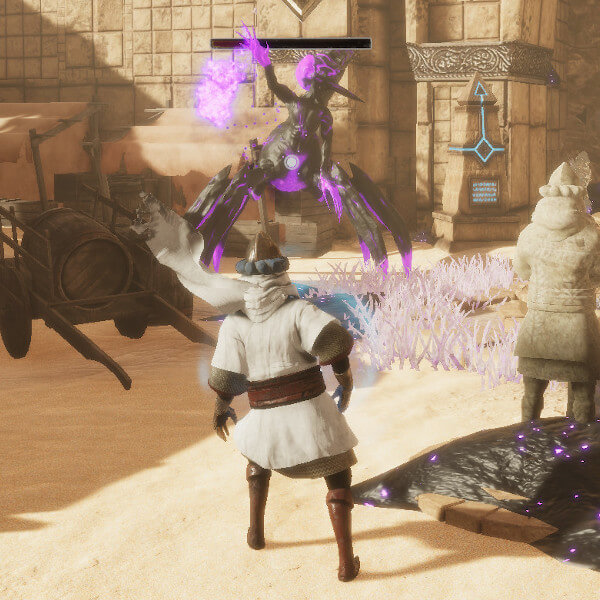 Adventurer approaches massive purple and black arachnid boss