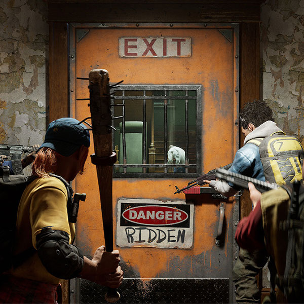 Two armed survivors approach an exit door.