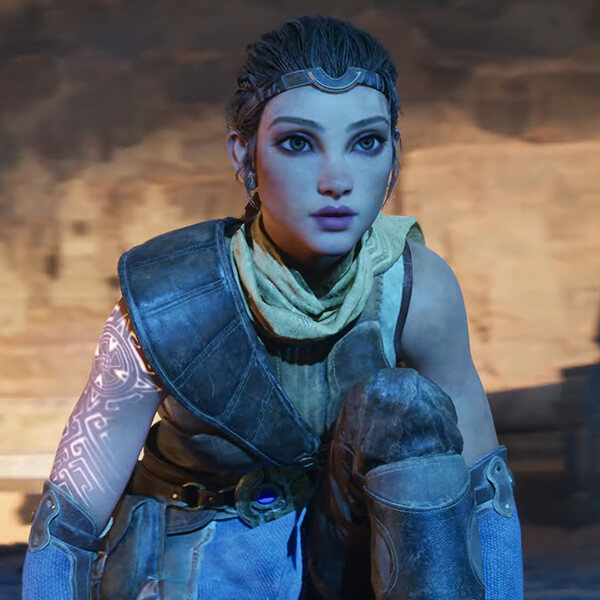 A screenshot, taken from the Unreal Engine 5 demo, of a woman with glowing runes on her arm, crouching in a cave.