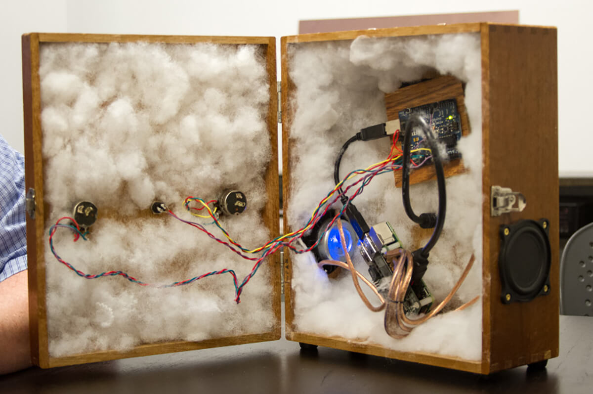 The interior of the Space Regenerator contains various hardware and wires nestled in cloud-like cotton insulation