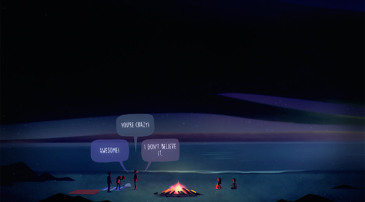 "Screenshot from Oxenfree of teenaged characters saying, ""Awesome!', ""You're crazy!, ""I don't believe it."" at a campfire by a lake"