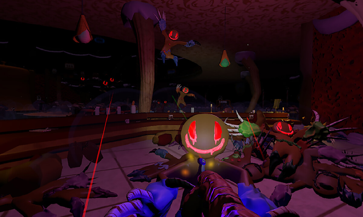 Evil gingerbread men coming out of the darkness in a screenshot from DigiPen student game Night of the Living Bread