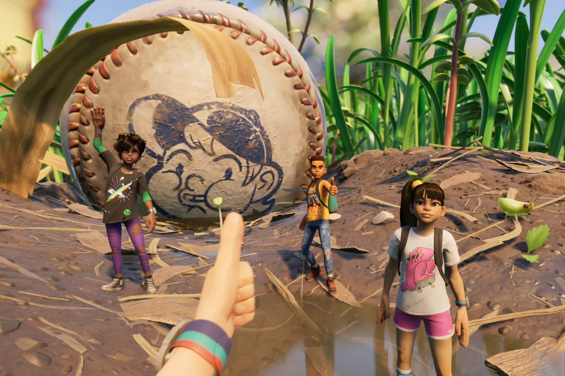 A Grounded screenshot showing the player giving the thumbs up to three tiny teens standing in front of a huge baseball.