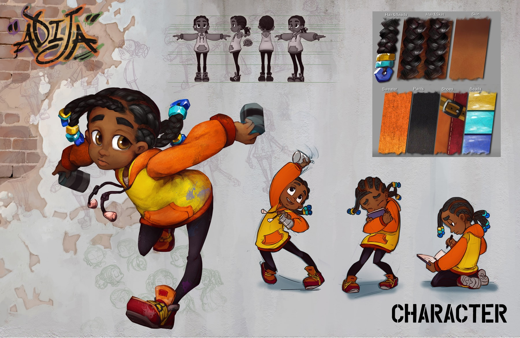 Sketches of the Adija character in various poses, and the details of her hair, skin and clothing