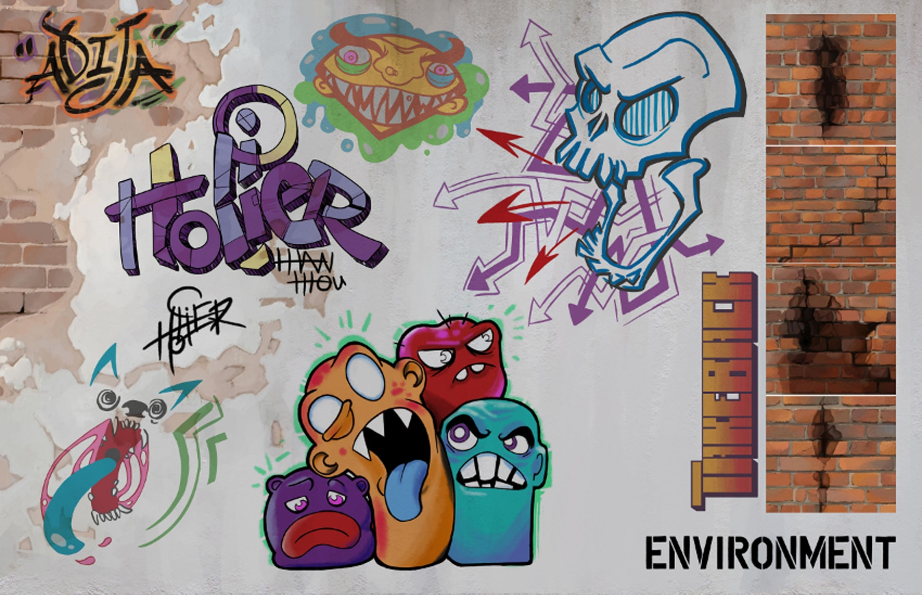 Illustration of elements of Adija's environment, including graffiti artwork and cracked brick walls