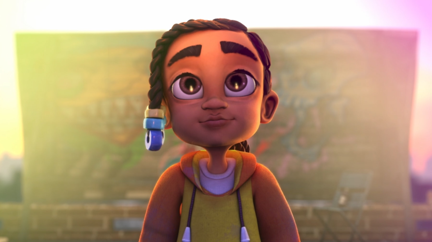 In a still from DigiPen student animation Adija, the title character looks at her artwork proudly