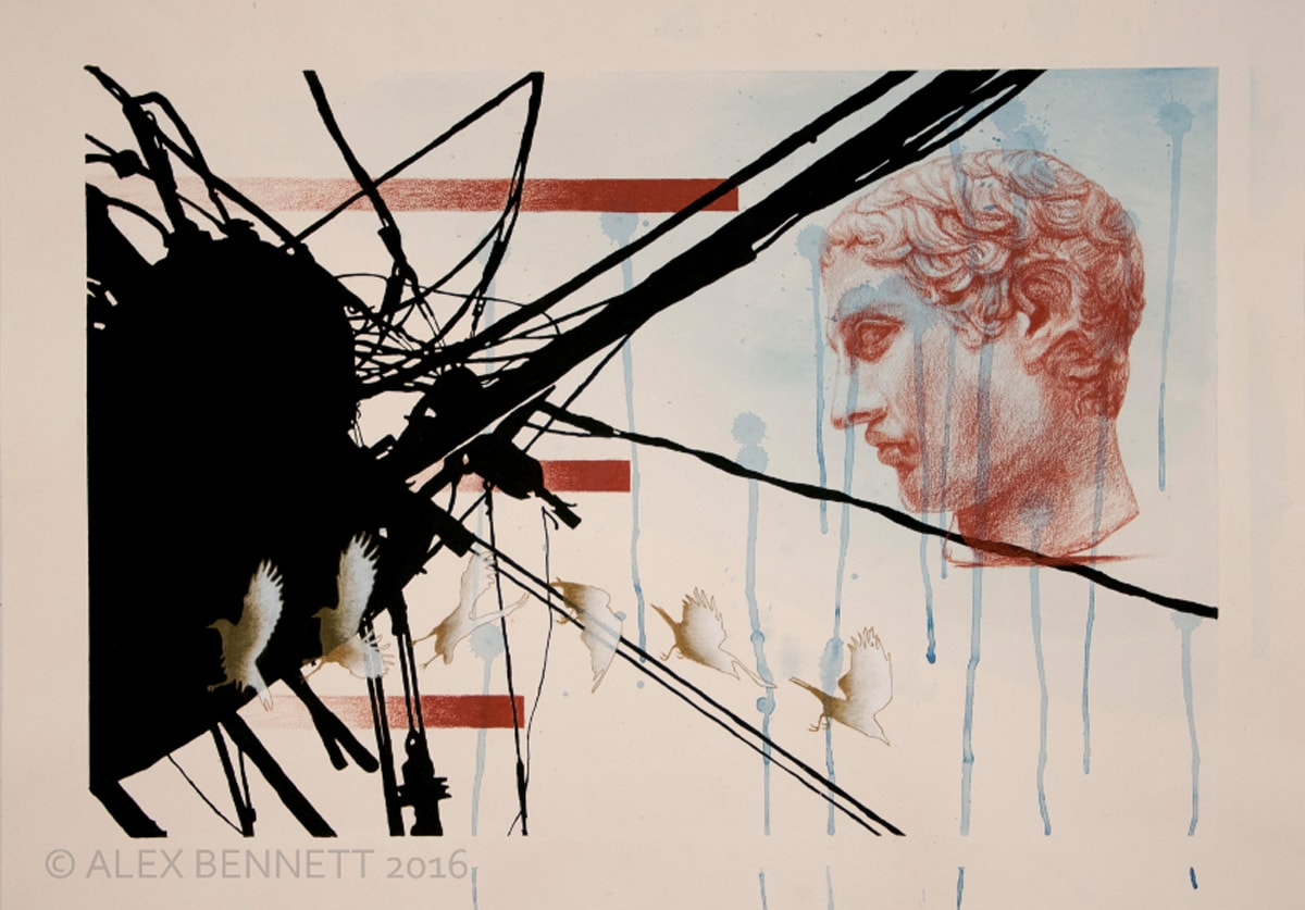 Alex Bennett's collage of wires, birds and the head of a statue