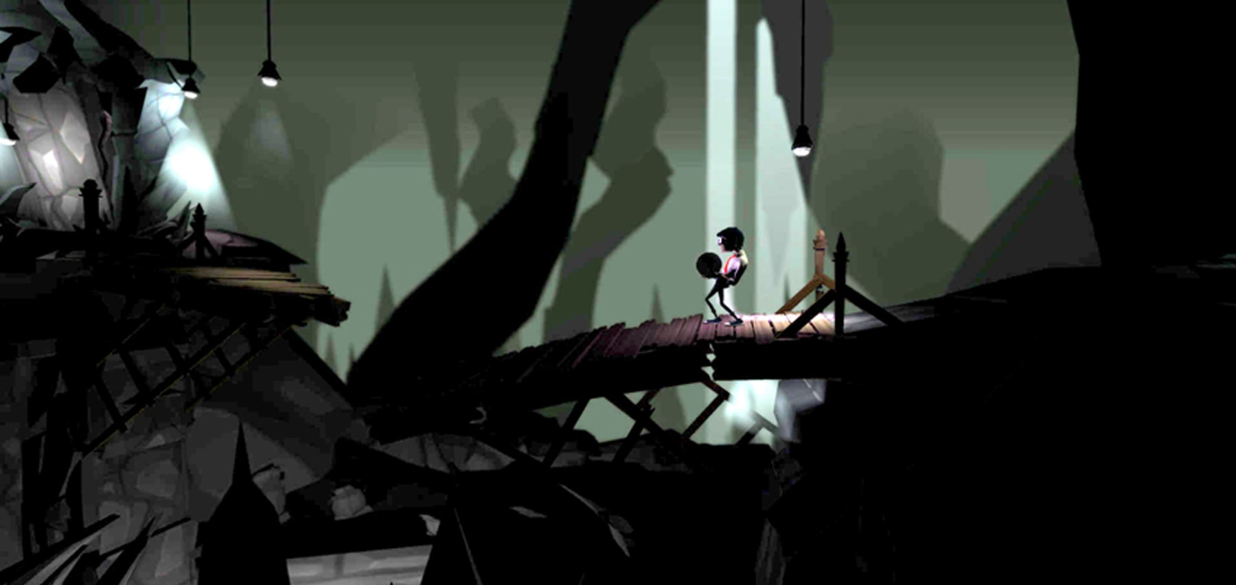 Screenshot of the Chained main character walking on a wooden bridge