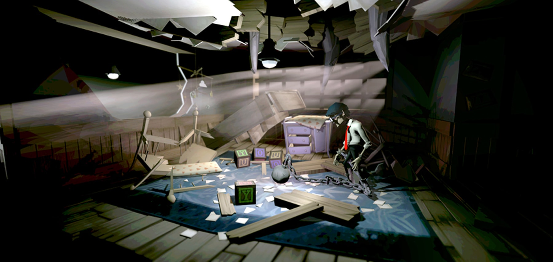 Screenshot of the Chained main character looking around a destroyed nursery