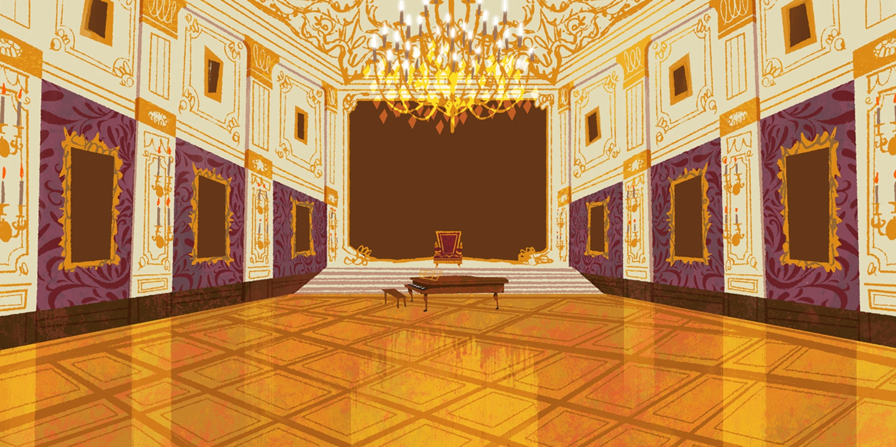 Chris Turnham's illustration of a grand concert hall, featuring polished floors, a grand piano and a large chandelier