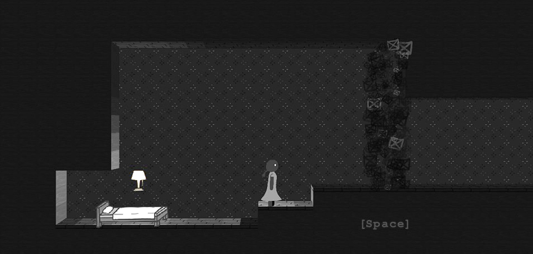 Screenshot from DigiPen student game Close Your Eyes, featuring a girl in a bedroom rendered in grayscale