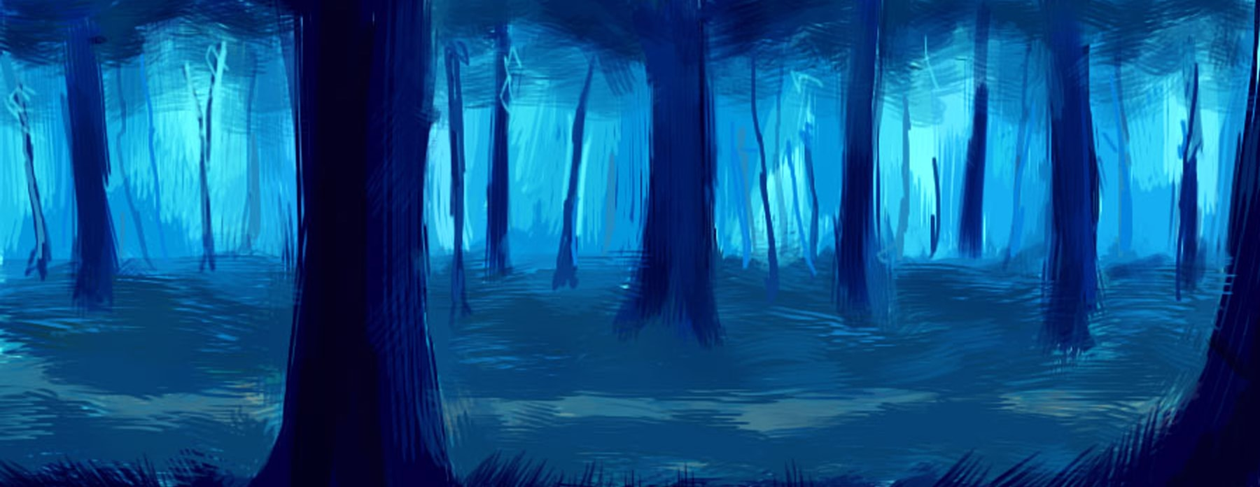 Illustration of a forest rendered in deep blues