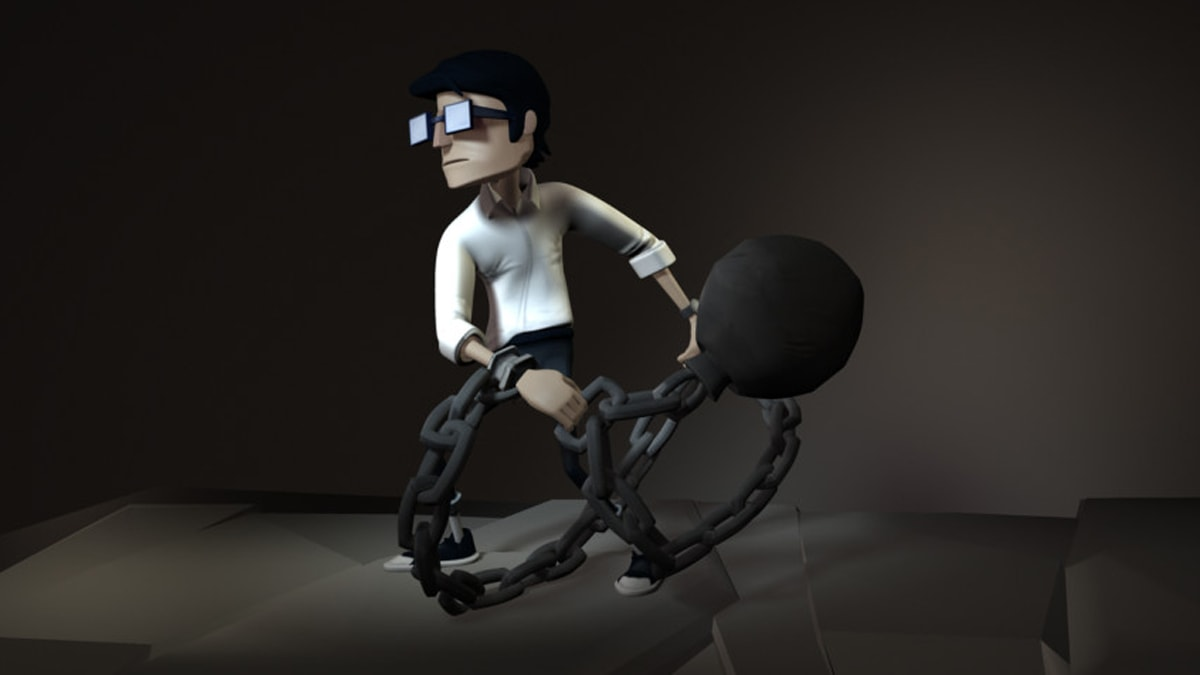 Render of Chained main character, a young man with glasses carrying a ball and chain