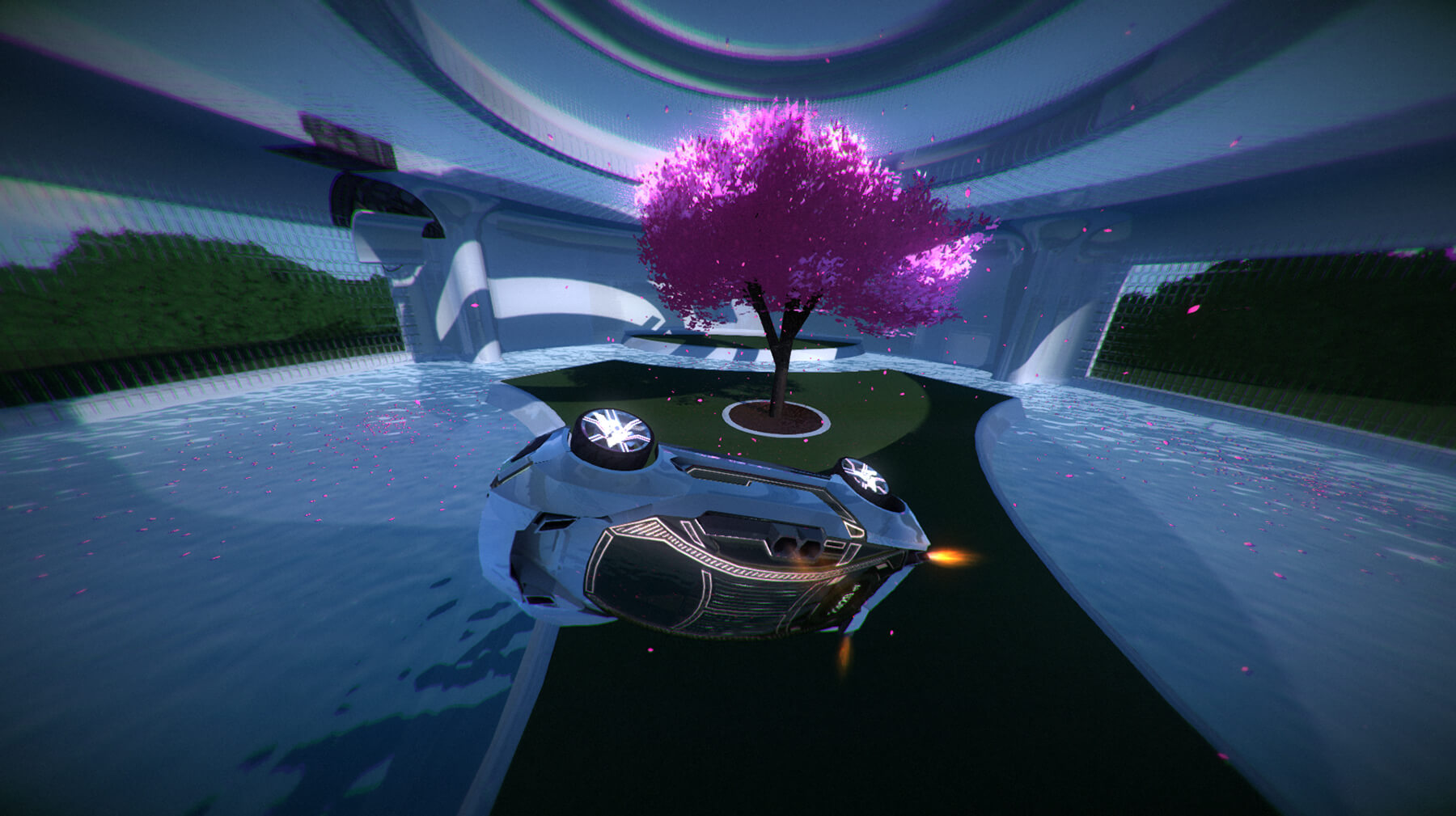 Screenshot from Refract Studios' Distance v1.0 featuring a race car on its side near a cherry tree