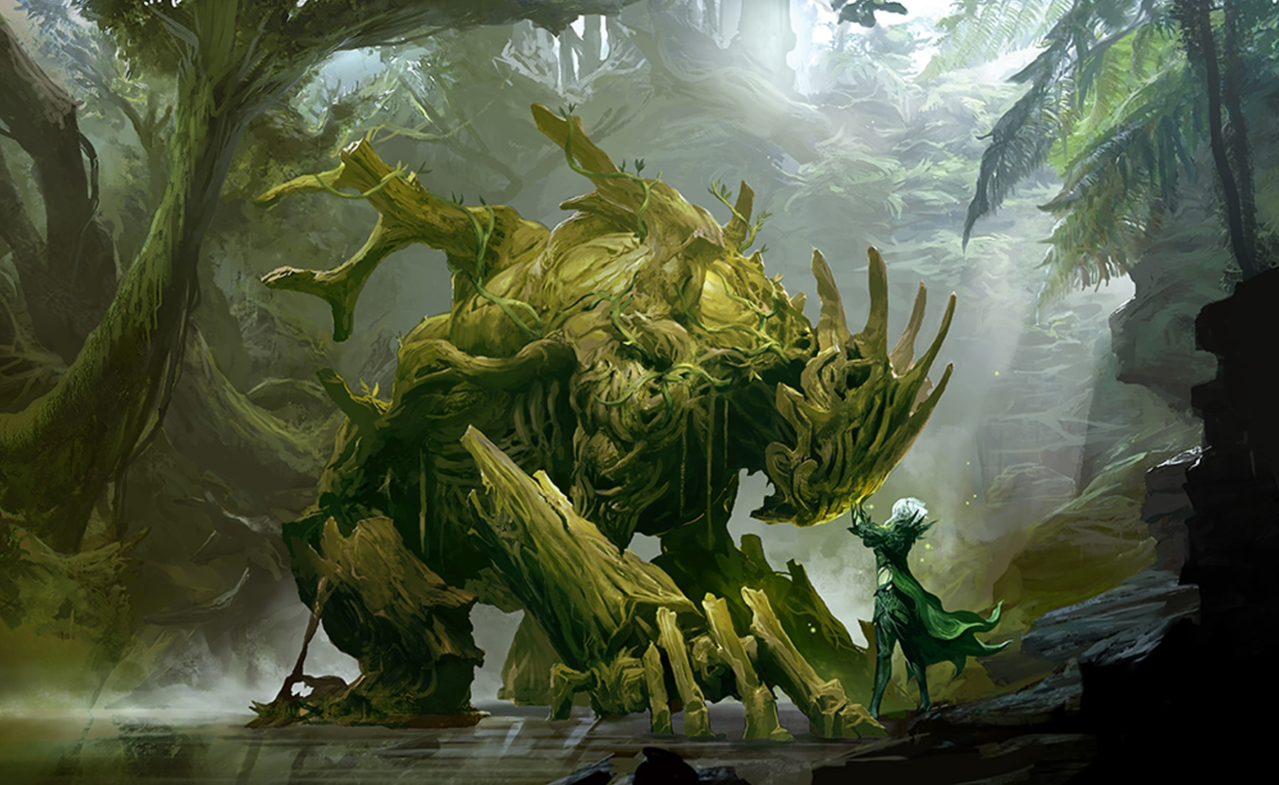 Guild Wars 2 character Caithe confronts a tree-like creature in the middle of the forest