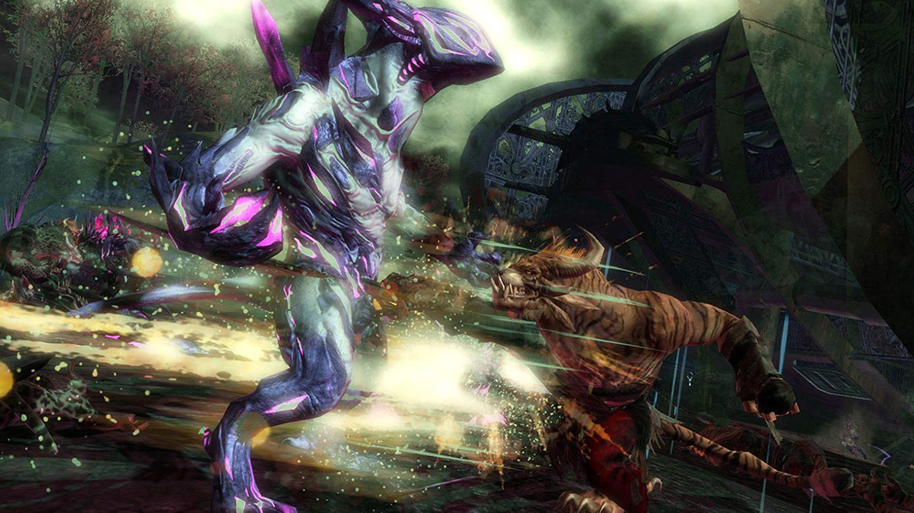 Illustration of characters fighting in Guild Wars 2