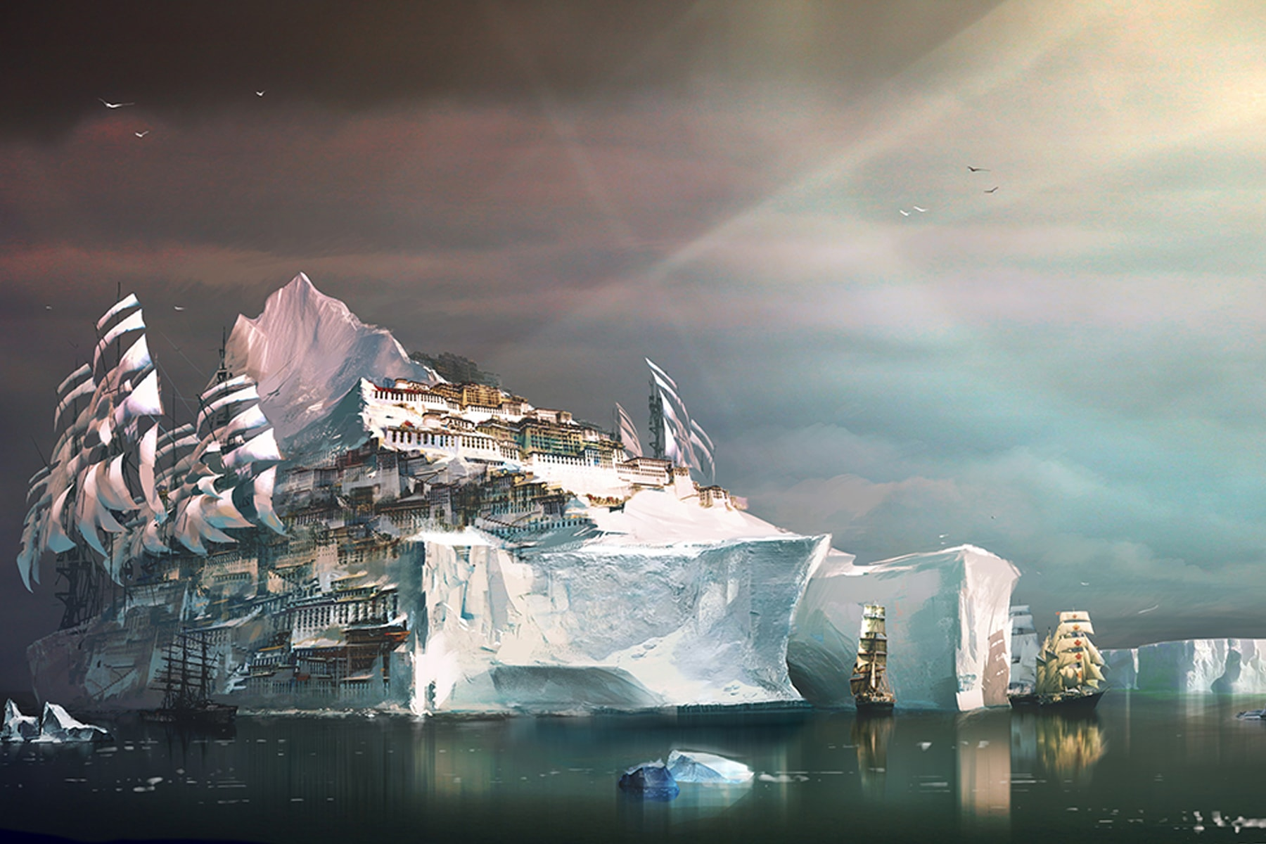 Illustration of a huge iceberg with a village built on top
