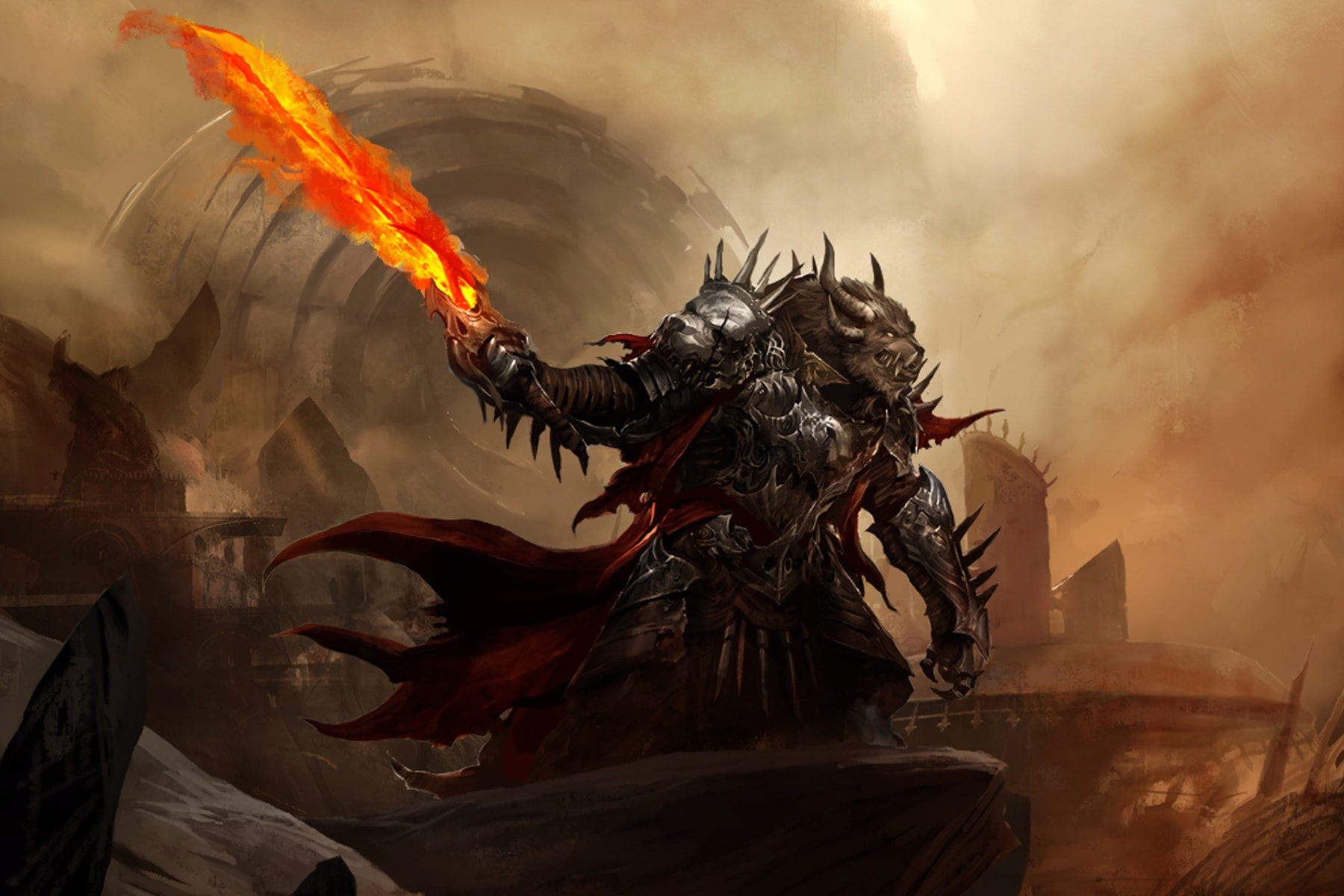 Illustration of Guild Wars 2 character Rytlock brimstone, a huge creature wielding a fiery sword amid smoking ruins