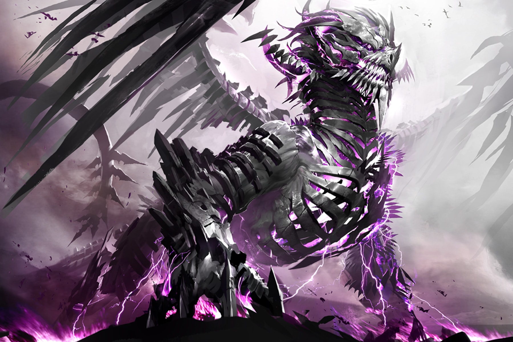 Illustration of Guild Wars 2 world boss The Shatterer, an enormous dragon generating purple lightning