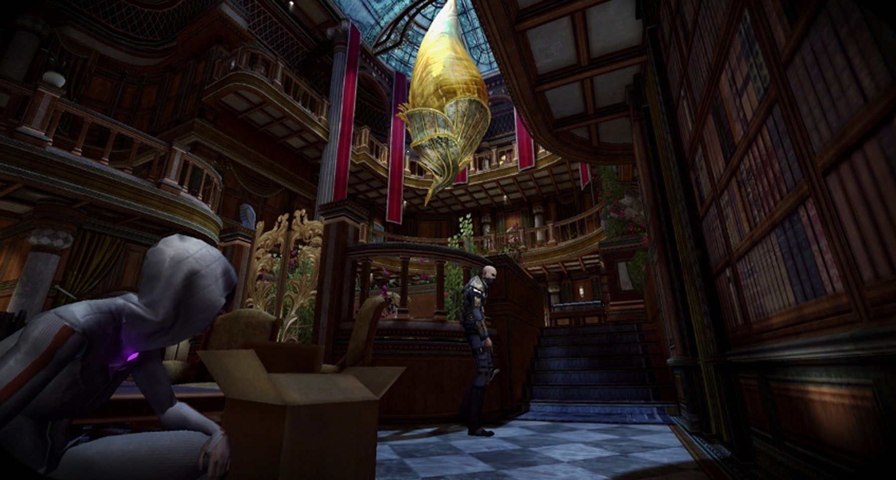 Screenshot from Republique of main character hope crouching behind boxes in a darkened chamber