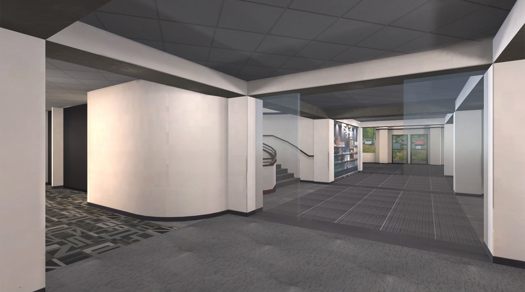 A 3D model of DigiPen's lobby, where AVAR attendees will be able to chat and network.