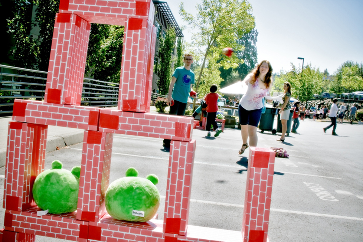 A DigiPen day attendee playing a life-sized version of popular video game Angry Birds