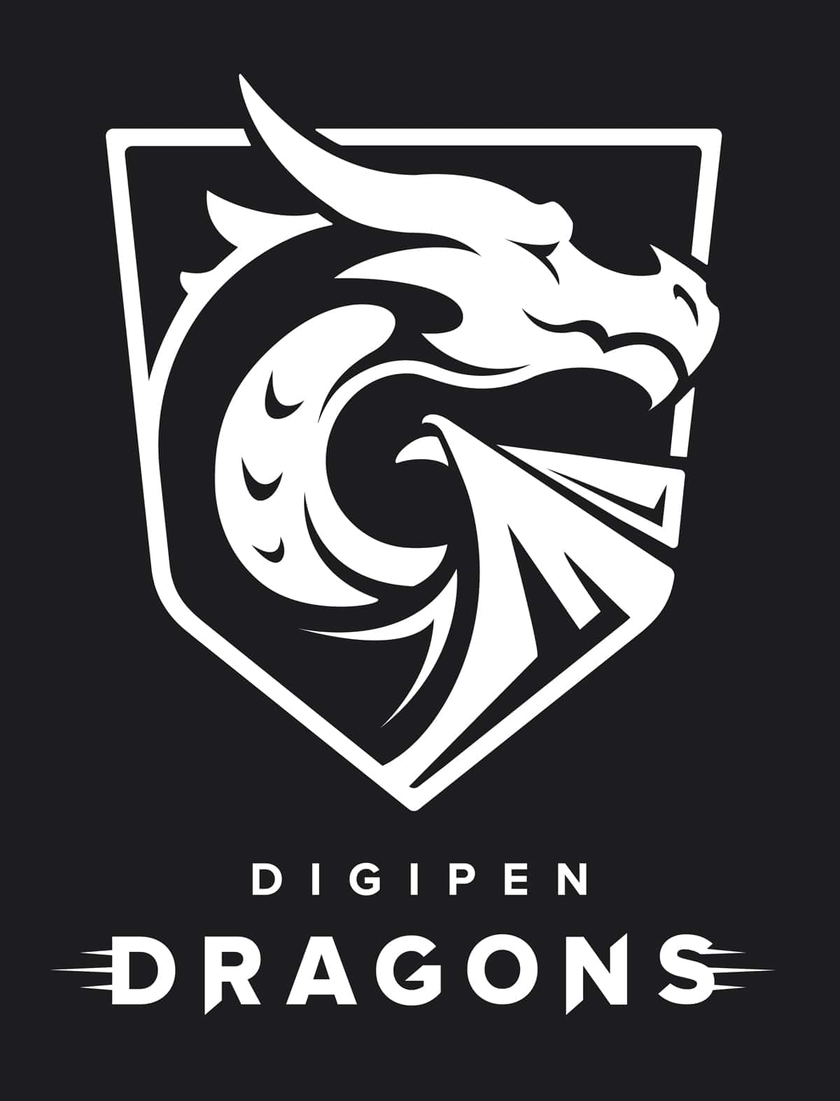 White DigiPen dragon shield on a black background