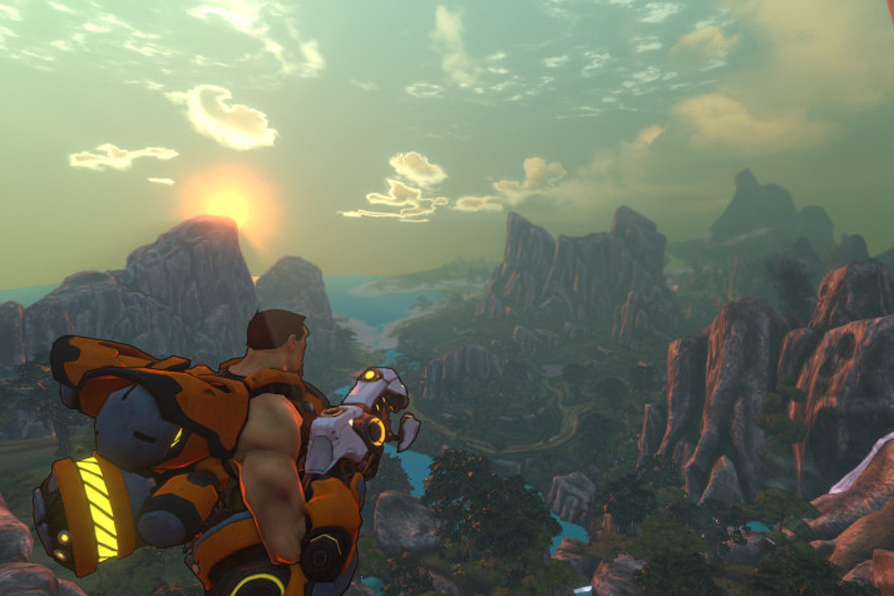 Screenshot of a man looking out over the mountains in Firefall, a game by Red 5 Studios
