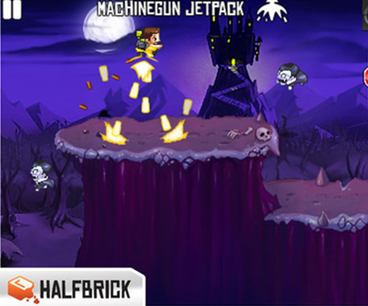 Screenshot of a man wearing a machine gun jetpack in Monster Dash, a game by developer Halfbrick Studios