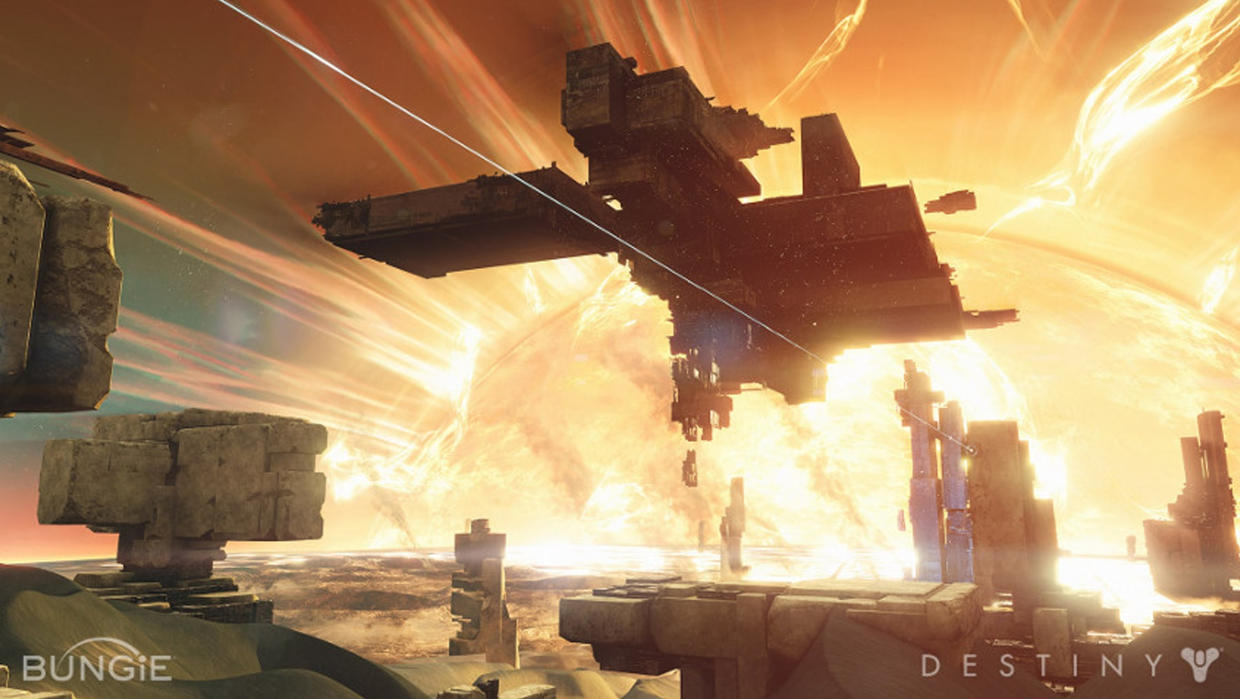 Screenshot of platforms suspended in mid-air in front of a huge ball of fire