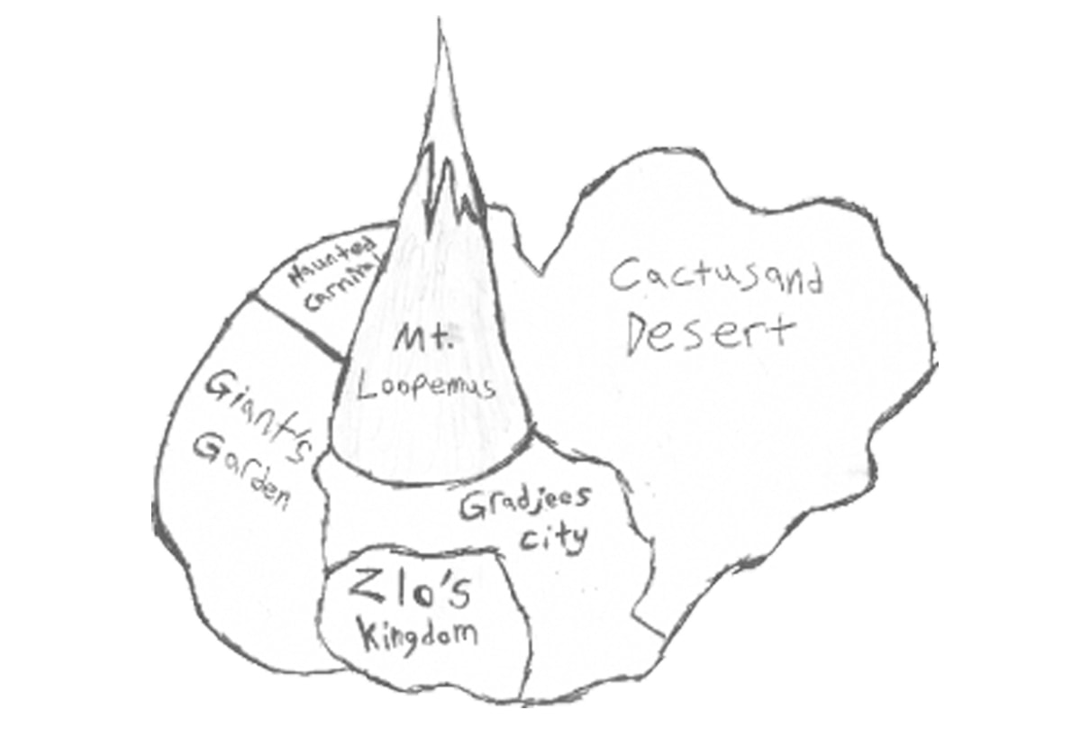 Mason's original pencil sketch of the world of Lord of the Bats