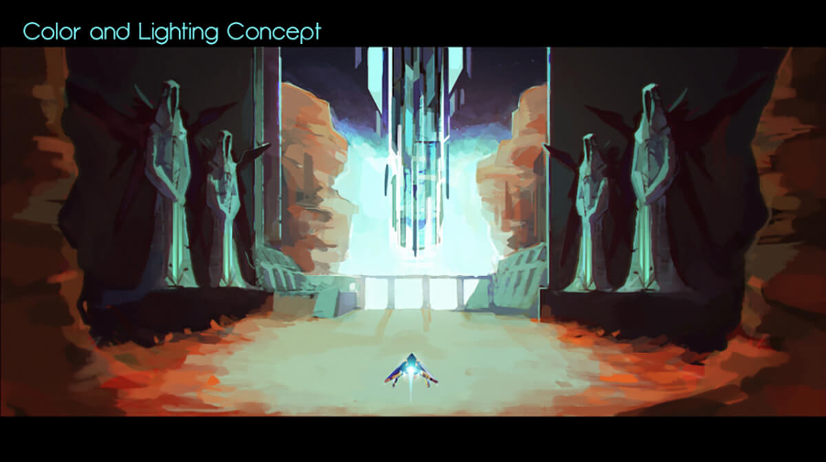 Digital painting of a hovercraft vehicle at the entrance of a vast chamber, flanked by large statues of alien hooded figures.