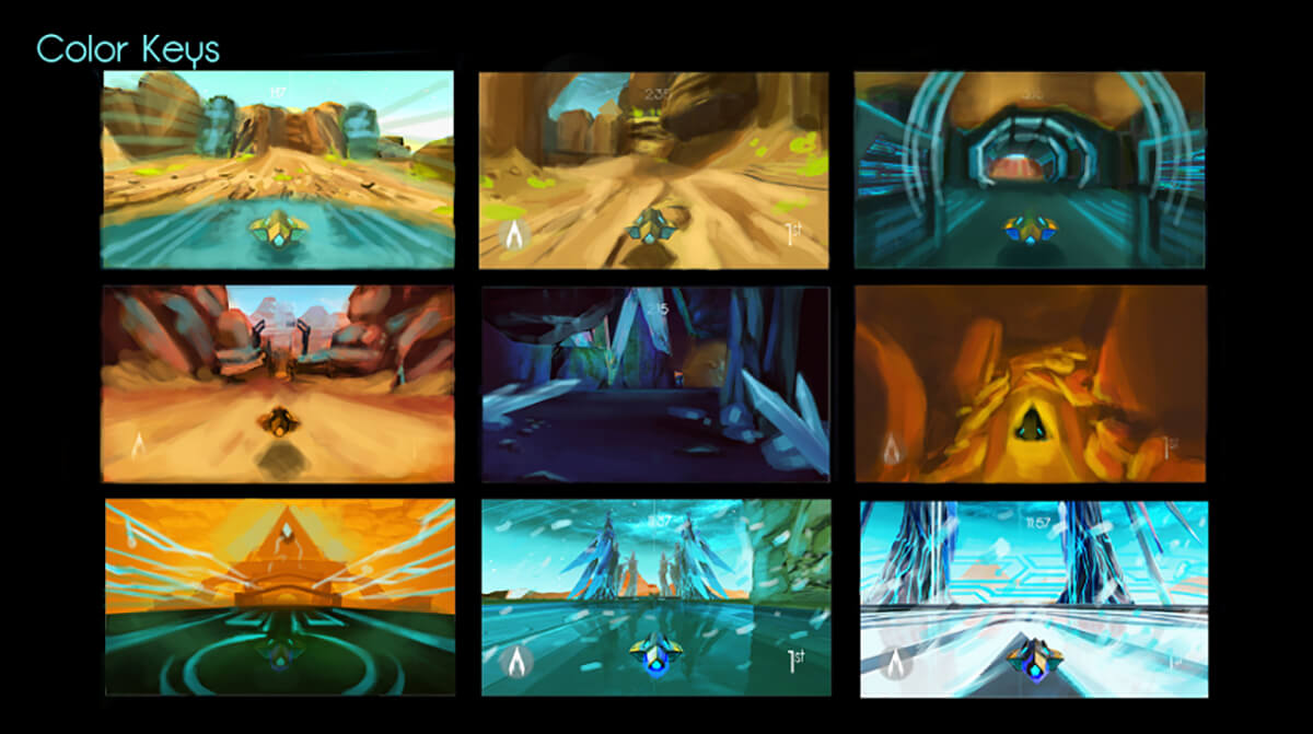 A series of 9 color keys for the student game Arc; each features a yellow hovercraft in a blue and yellow alien environment.