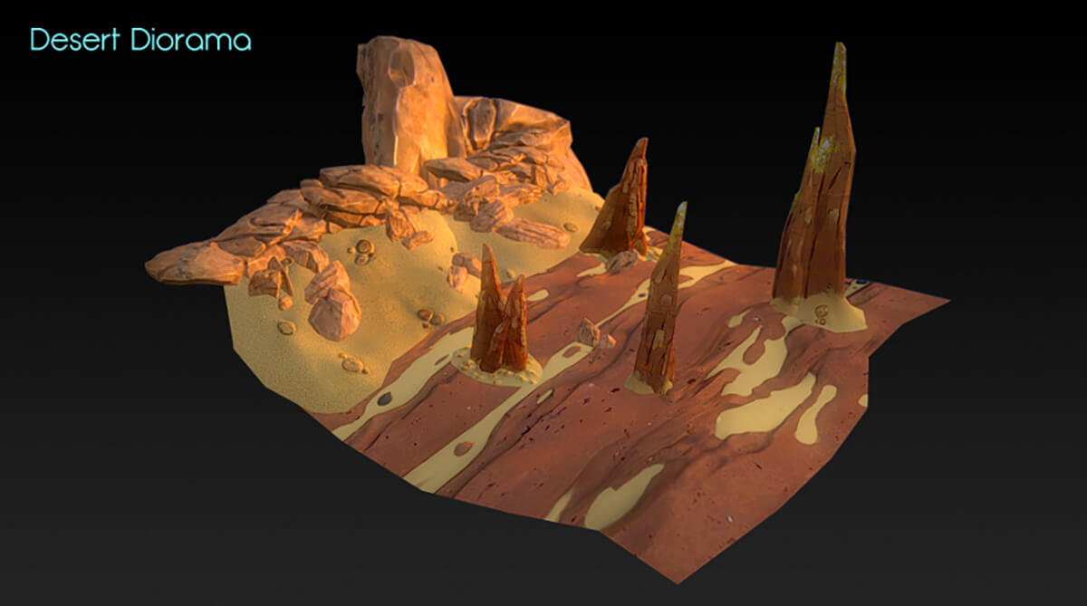3D image of a desert landscape with tall, craggy rock features sticking out of the ground.