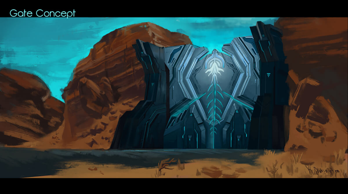 Concept painting for the DigiPen student game Arc, depicting a large gateway that is closing the entrance to a desert canyon.